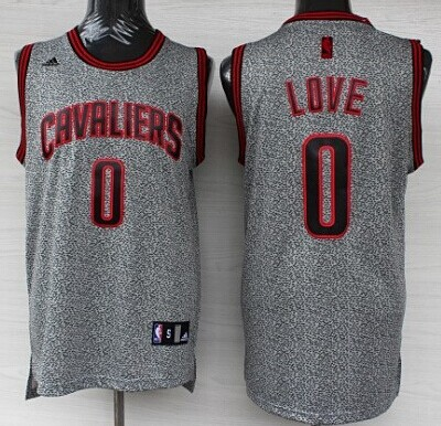 Cleveland Cavaliers #0 Kevin Love Gray Static Fashion Jersey