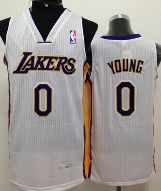 Los Angeles Lakers #0 Nick Young White Swingman Jersey