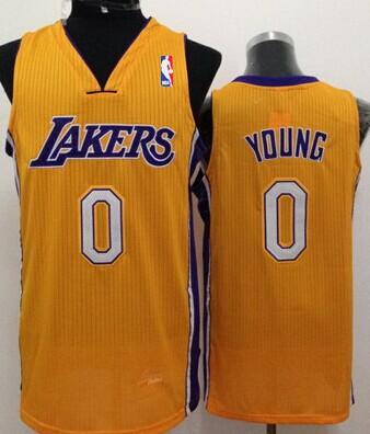 Los Angeles Lakers #0 Nick Young Yellow Swingman Jersey