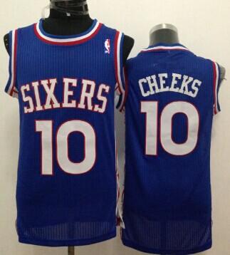 Philadelphia 76ers #10 Maurice Cheeks Blue Swingman Throwback Jersey