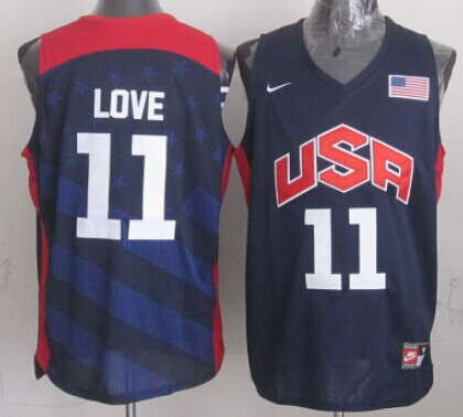 2012 Olympics Team USA #11 Kevin Love Revolution 30 Swingman Blue Jersey