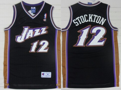 Utah Jazz #12 John Stockton Black Swingman Throwback Jersey