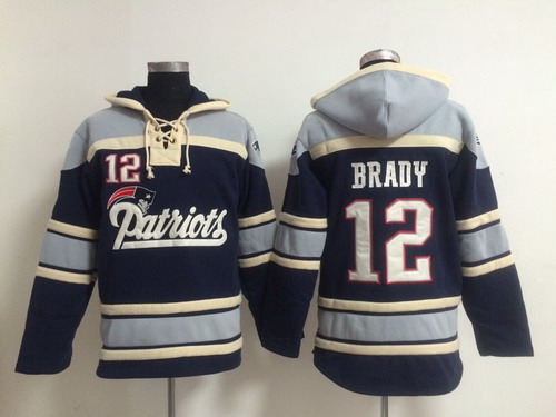 New England Patriots #12 Tom Brady 2014 Blue Hoodie