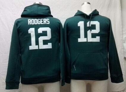 Nike Green Bay Packers #12 Aaron Rodgers Green Kids Hoodie
