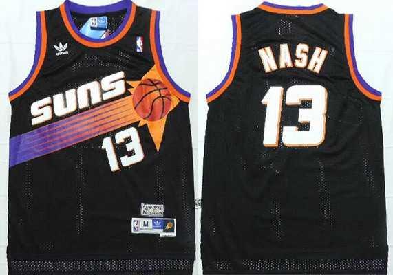 Men's Phoenix Suns #13 Steve Nash Black Hardwood Classics Soul Swingman Throwback Jersey