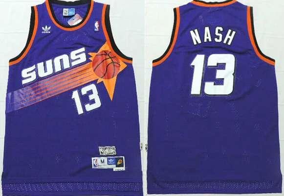 Men's Phoenix Suns #13 Steve Nash Purple Hardwood Classics Soul Swingman Throwback Jersey