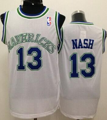 Dallas Mavericks #13 Steve Nash White Swingman Throwback Jersey
