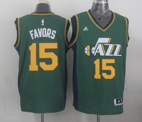 Utah Jazz #15 Derrick Favors Revolution 30 Swingman 2014 New Green Swingman Jersey