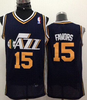 Utah Jazz #15 Derrick Favors Navy Blue Swingman Jersey