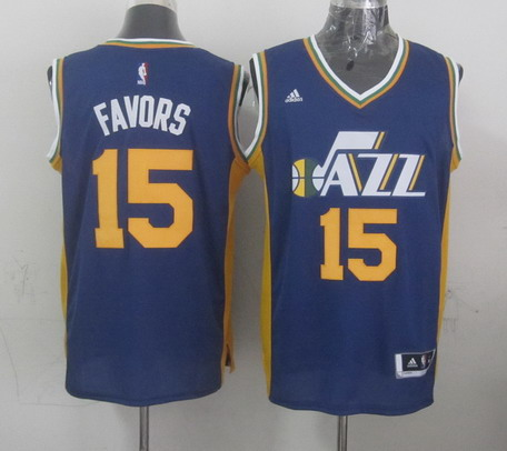 Utah Jazz #15 Derrick Favors Revolution 30 Swingman 2014 New Navy Blue Swingman Jersey
