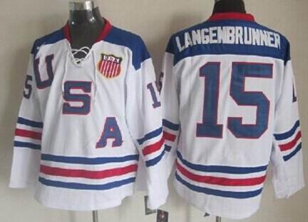 2010 Olympics USA #15 Jamie Langenbrunner White Jersey