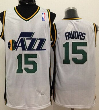 Utah Jazz #15 Derrick Favors White Swingman Jersey