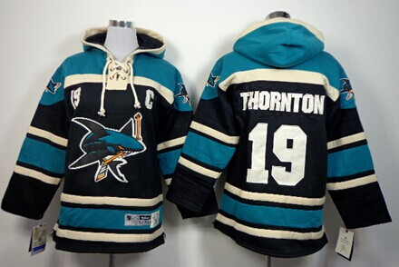 Old Time Hockey San Jose Sharks #19 Joe Thornton Black Kids Hoodie
