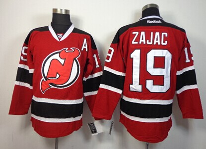 New Jersey Devils #19 Travis Zajac Red With Black Jersey