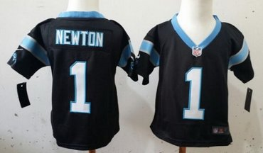 Nike Carolina Panthers #1 Cam Newton Black Toddlers Jersey