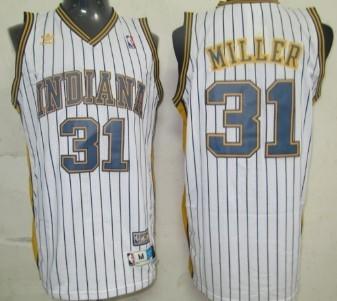 Indiana Pacers #31 Reggie Miller White Pinstripe Swingman Throwback Jersey