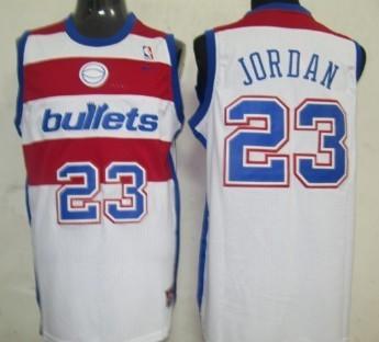 Washington Bullets #23 Michael Jordan White Swingman Throwback Jersey