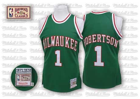 Milwaukee Bucks #1 Oscar Robertson Green Swingman Throwback Jersey