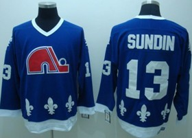 Quebec Nordiques #13 Mats Sundin Navy Blue Throwback CCM Jersey