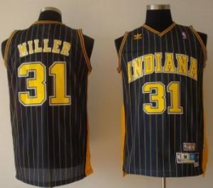 Indiana Pacers #31 Reggie Miller Navy Blue Pinstirpe Swingman Throwback Jersey