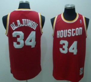 Houston Rockets #34 Hakeem Olajuwon Red Swingman Throwback Jersey