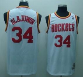 Houston Rockets #34 Hakeem Olajuwon White Swingman Throwback Jersey