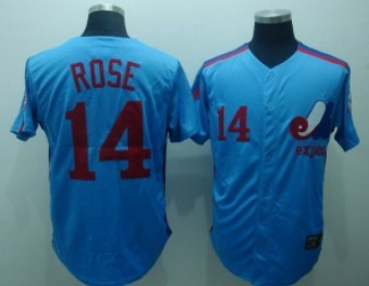 Montreal Expos #14 Pete Rose 1982 Blue Throwback Jersey