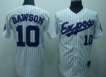 Montreal Expos #10 Andre Dawson 1982 White Pinstripe Throwback Jersey