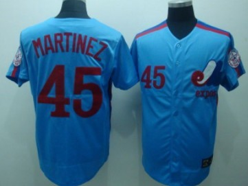 Montreal Expos #45 Pedro Martinez 1982 Blue Throwback Jersey