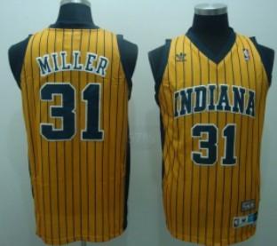 Indiana Pacers #31 Reggie Miller Yellow Pinstripe Swingman Throwback Jersey