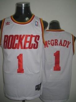 Houston Rockets #1 Tracy McGrady White Swingman Throwback Jersey