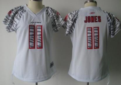Atlanta Falcons #11 Julio Jones White Womens Zebra Field Flirt Fashion Jersey