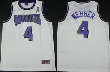 Sacramento Kings #4 Chris Webber White Swingman Jersey