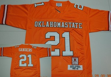 Oklahoma State Cowboys #21 Barry Sanders Orange Throwback Jersey