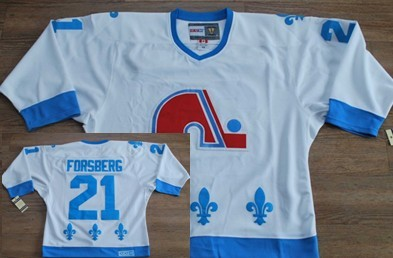 Quebec Nordiques #21 Peter Forsberg White With Light Blue Throwback CCM Jersey