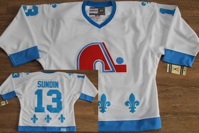 Quebec Nordiques #13 Mats Sundin White With Light Blue Throwback CCM Jersey