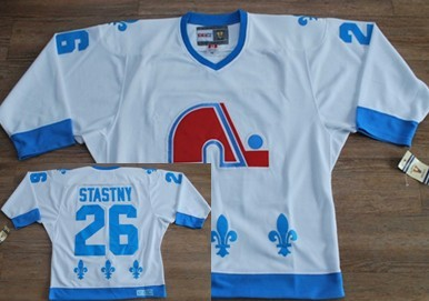 Quebec Nordiques #26 Peter Stastny White With Light Blue Throwback CCM Jersey