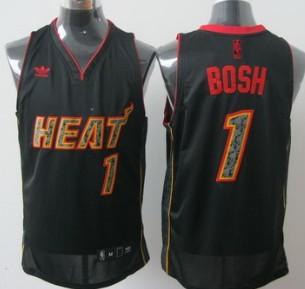 Miami Heats #1 Chris Bosh All Black With Orange Fashion Jersey