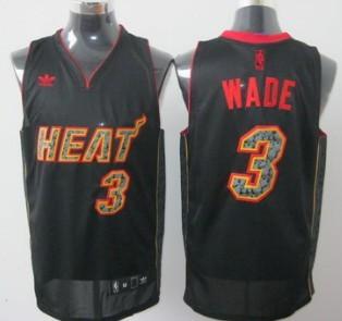 Miami Heat #3 Dwyane Wade All Black With Orange Fashion Jersey