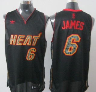Miami Heat #6 LeBron James All Black With Orange Fashion Jersey