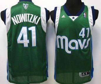 Dallas Mavericks #41 Dirk Nowitzki Green Swingman Jersey