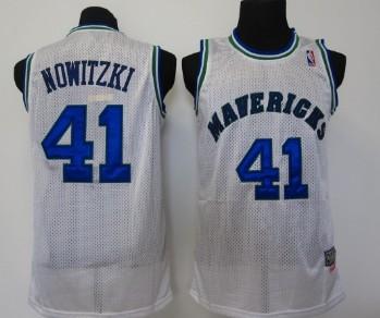Dallas Mavericks #41 Dirk Nowitzki White Swingman Throwback Jersey