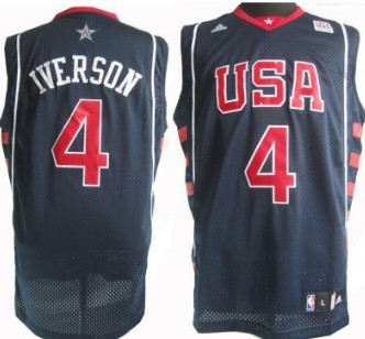 2004 Olympics Team USA #4 Allen Iverson Navy Blue Swingman Jersey