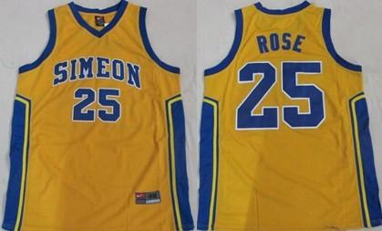 Simeon Vocational High School #25 Derrick Rose Yellow Jersey