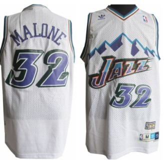 Utah Jazz #32 Karl Malone Mountain White Throwback Swingman Jersey