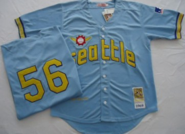 Seattle Pilots #56 Jim Bouton 1969 Light Blue Throwback Jersey
