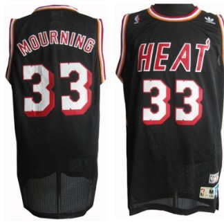 Miami Heat #33 Alonzo Mourning Black Swingman Throwback Jersey