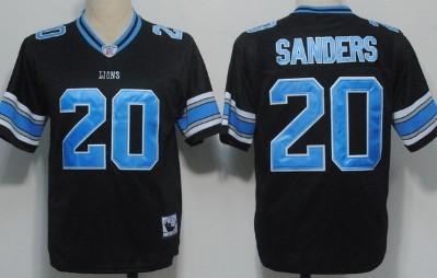 Detroit Lions #20 Barry Sanders Black Throwback Jersey
