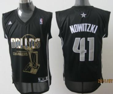 Dallas Mavericks #41 Nowitzki 2011 Championships Commemorative Black Jersey