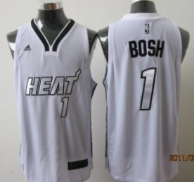Miami Heats #1 Chris Bosh White With Silvery Fashion Jersey